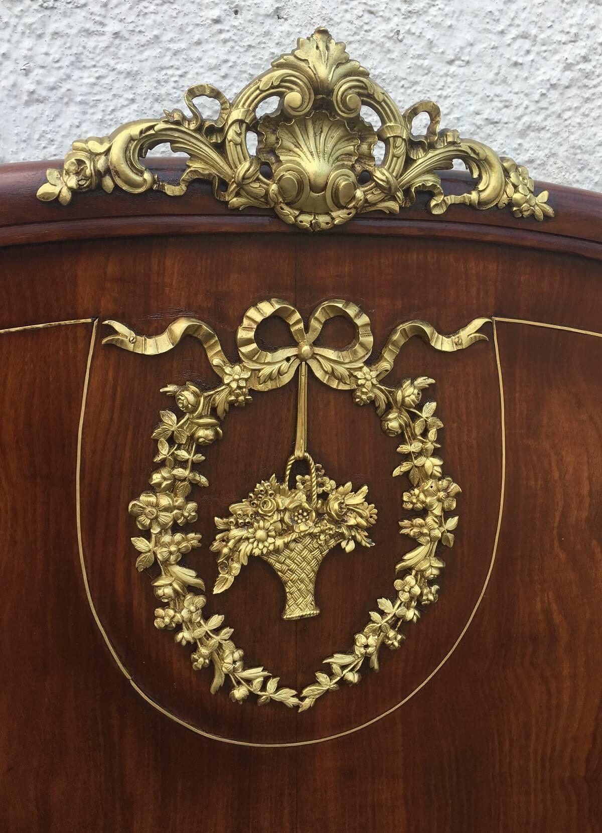 Espetacular Cama Antiga Luis Xv Lindos Apliques Bronze