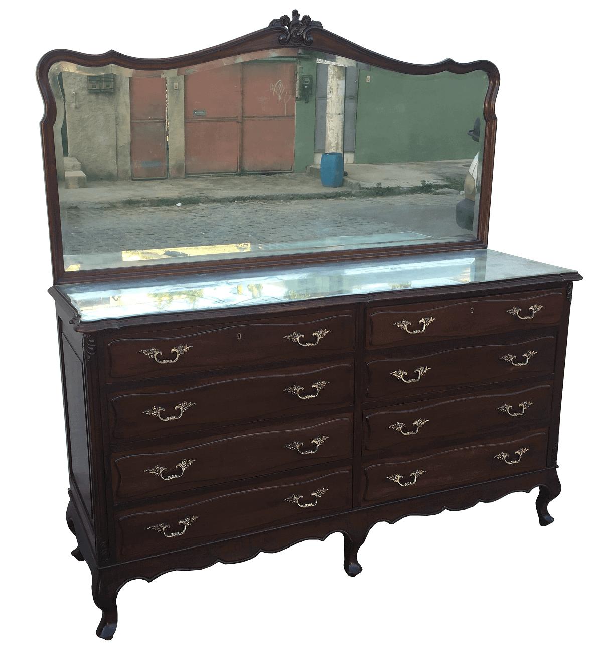 Espetacular Comoda Luis Xv Antiga Com Espelho Em Madeira Nobre
