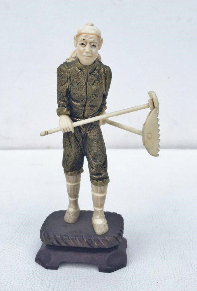 Espetacular Escultura Em Marfim Com Bronze Perfeita