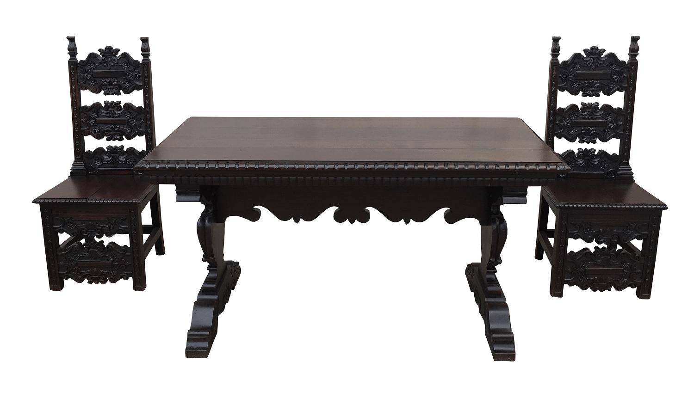 Espetacular Mesa Aparador Antigo 2 Cadeiras Colonial Renascença Maciço