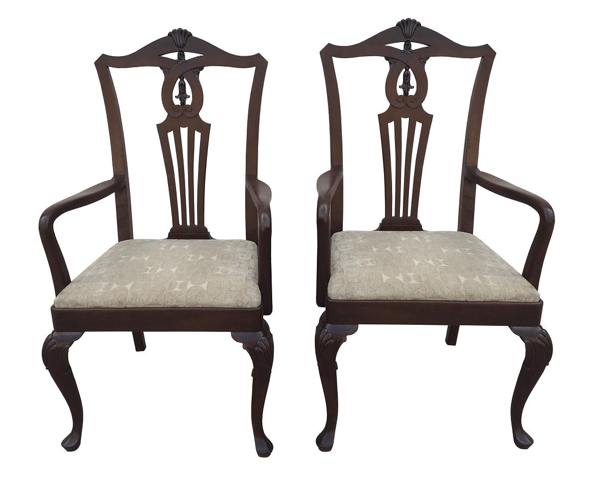 Espetacular Par De Cadeira Lira Antiga Com Braço Madeira Nobre