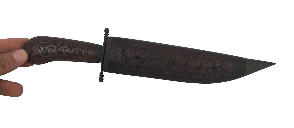 Faca Ou Punhal Em Madeira Detalhes Metal 27cm