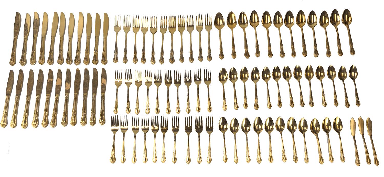 Faqueiro Dourado Antigo Koreano 124 Peças