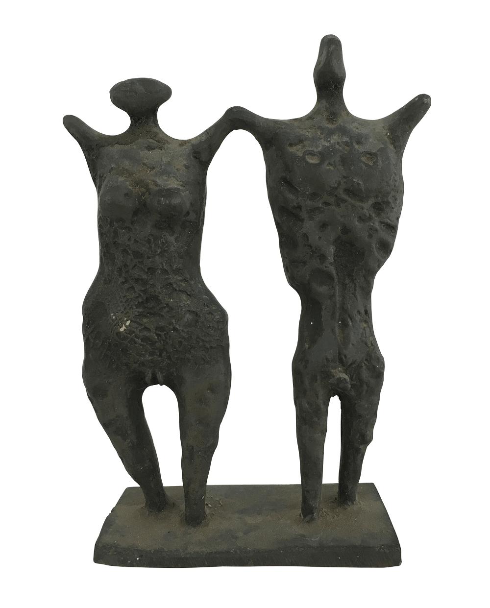 Francisco Stockinger Escultura Em Bronze Casal De Guerreiros
