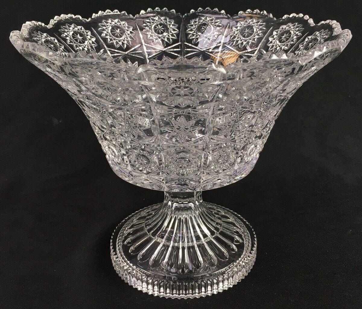 Fruteira Em Cristal Lapidado Centro De Mesa 21cm Altura