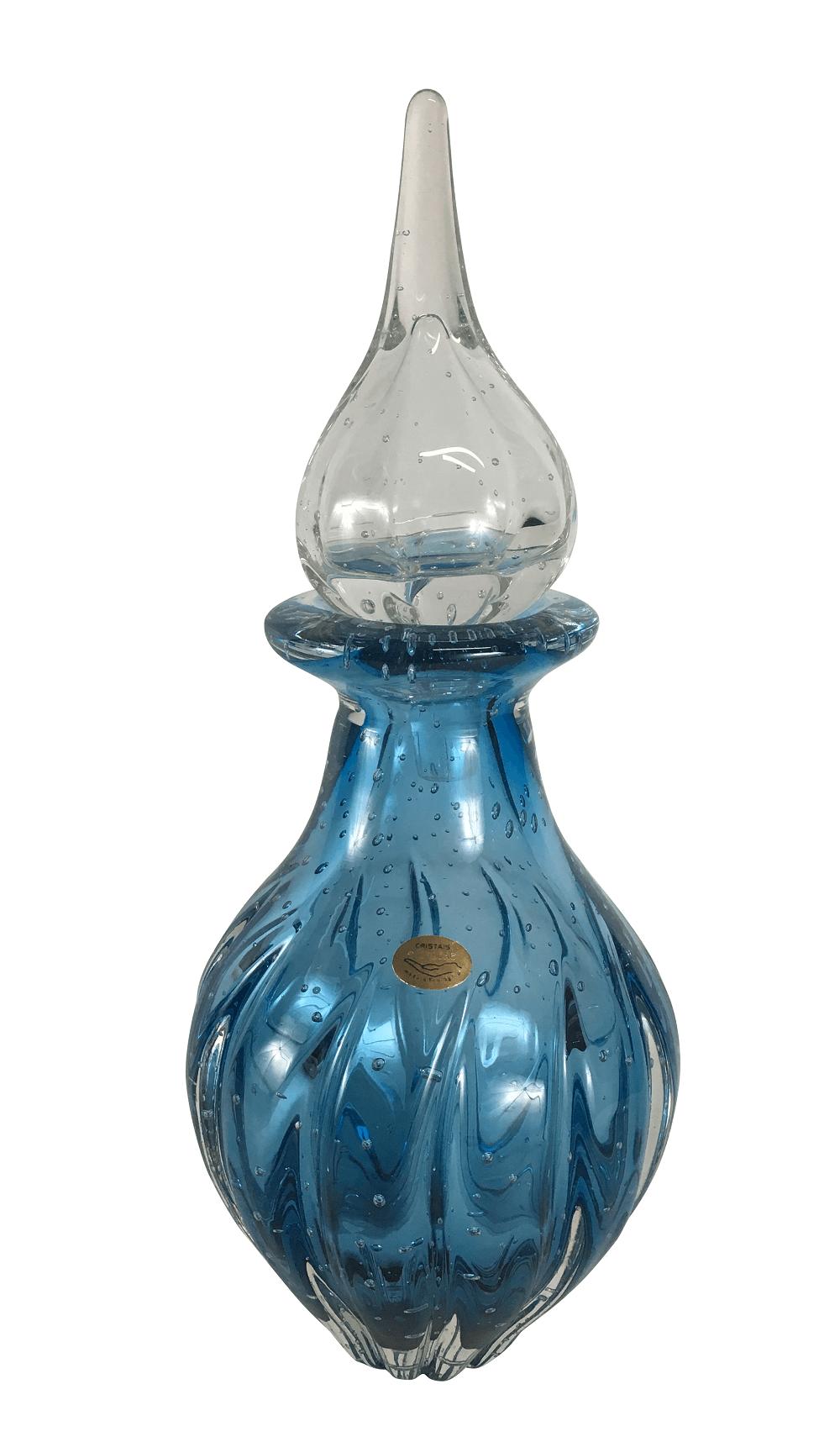 Garrafa Cristal Murano Azul Com Bolhas 39cm