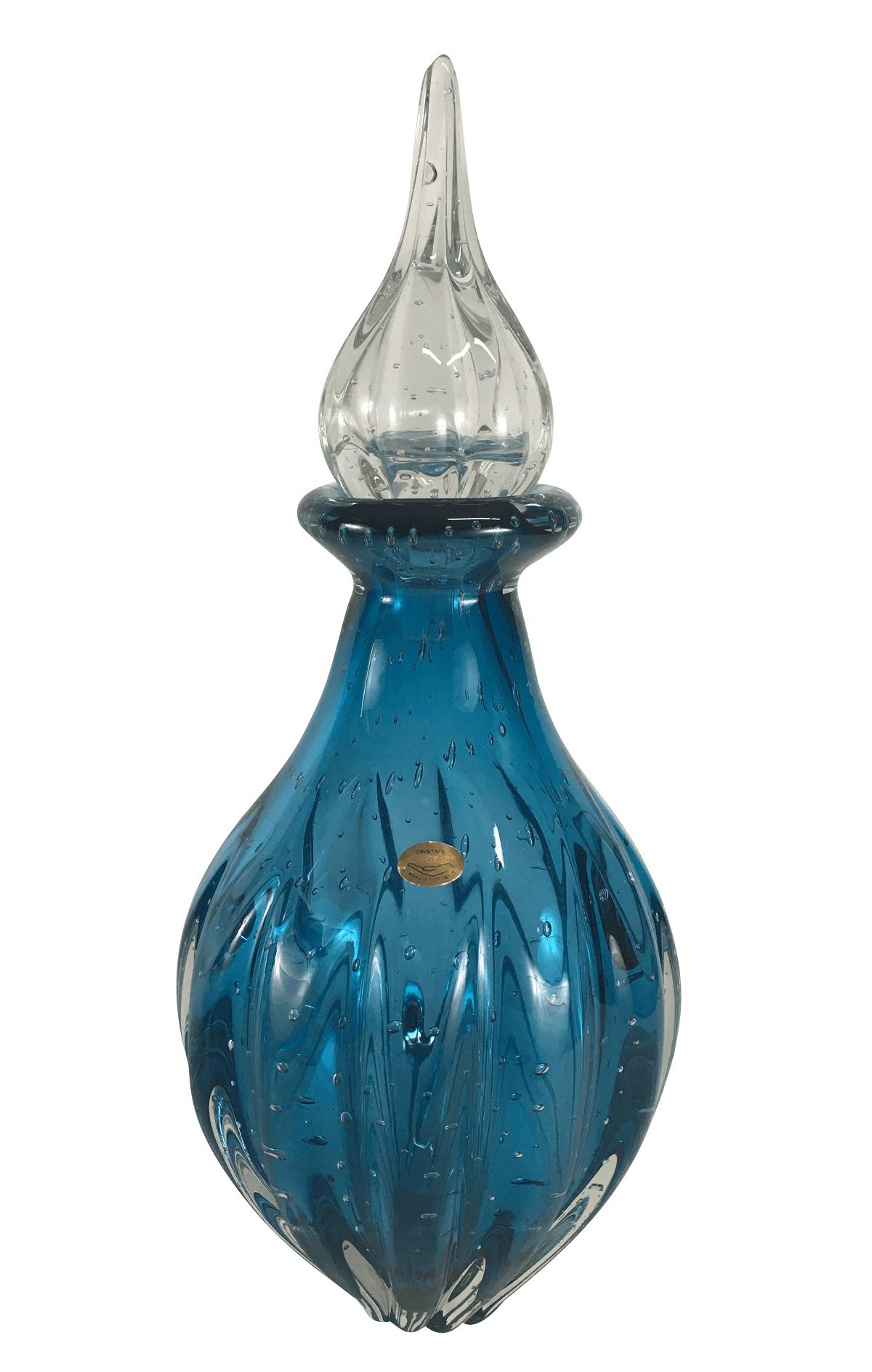 Garrafa Cristal Murano Azul Com Bolhas 47cm