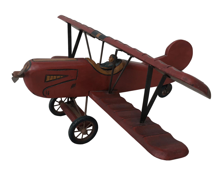 Grande Aviao Antigo Decorativo Em Madeira Espetacular