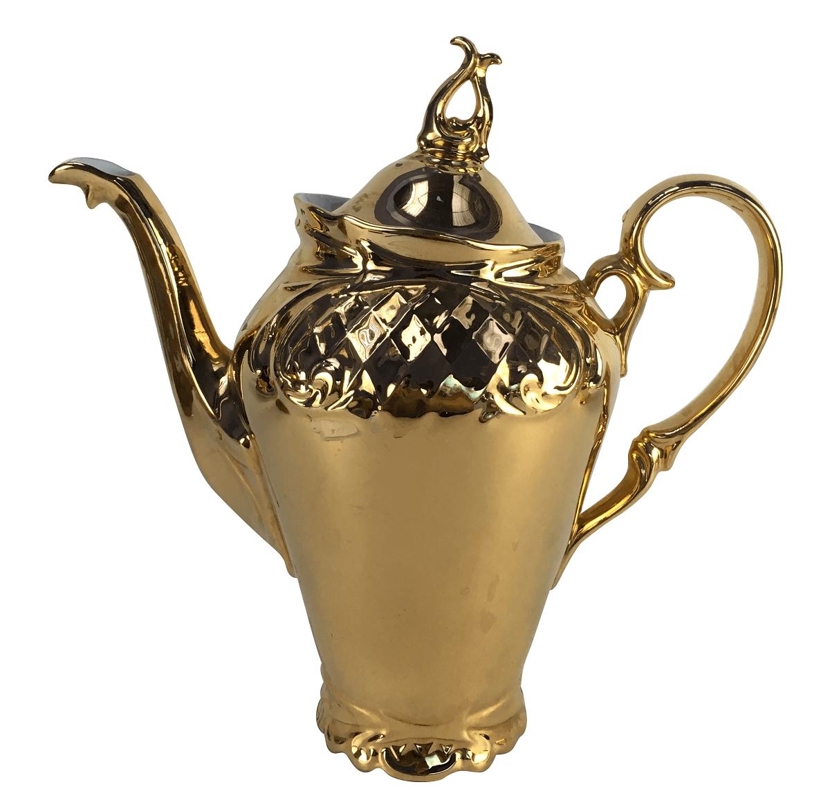 Grande Bule Cafe Antigo Porcelana Schmidt Ouro 27cm