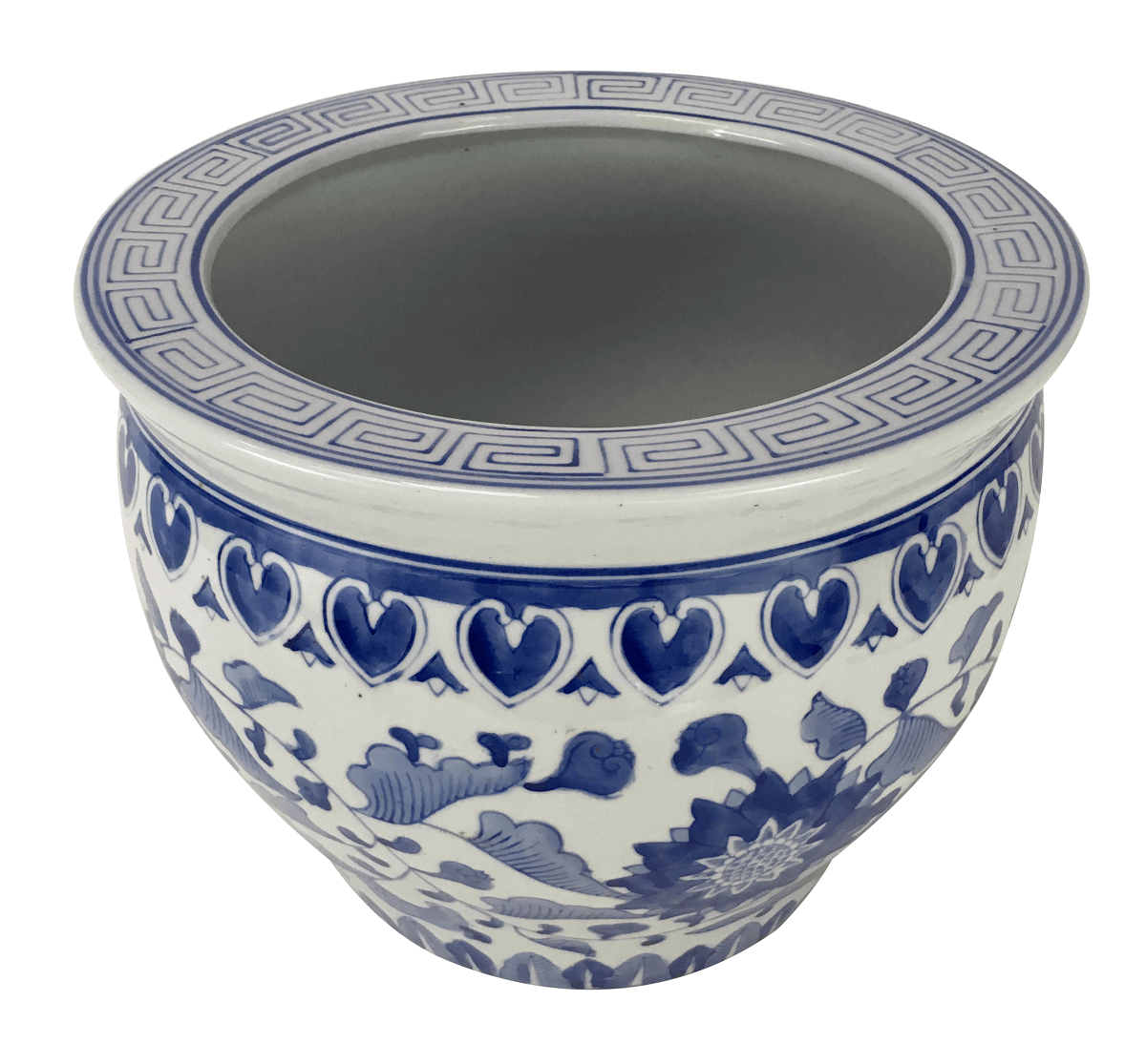 Grande Cachepot Porcelana Antiga Azul E Branco 30cm Belissimo