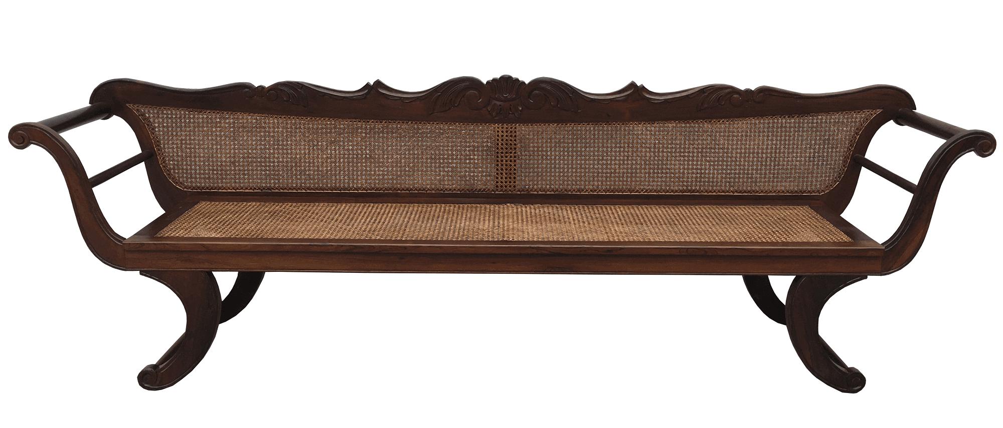 Grande Canape Antigo Em Jacaranda Maciço E Palhinha