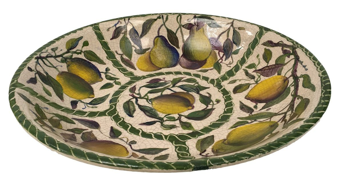 Grande Centro De Mesa Fruteira Ceramica Pintado a Mao