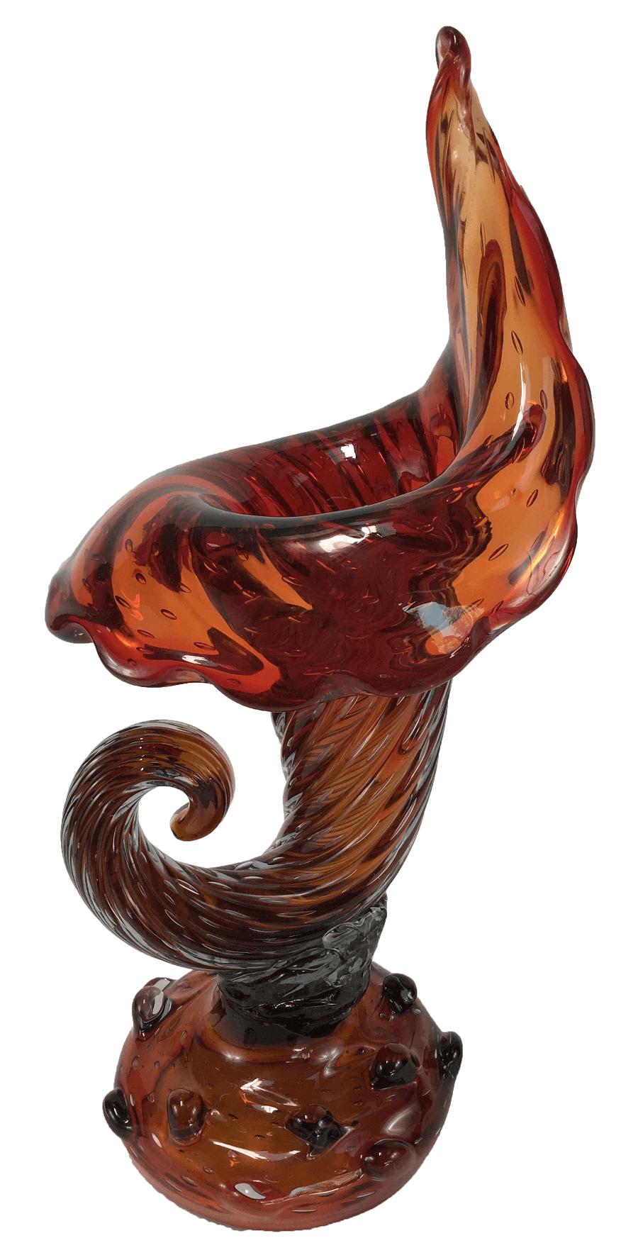 Grande Cornucopia Vaso De Murano Antigo Anos 50 Com Bolhas