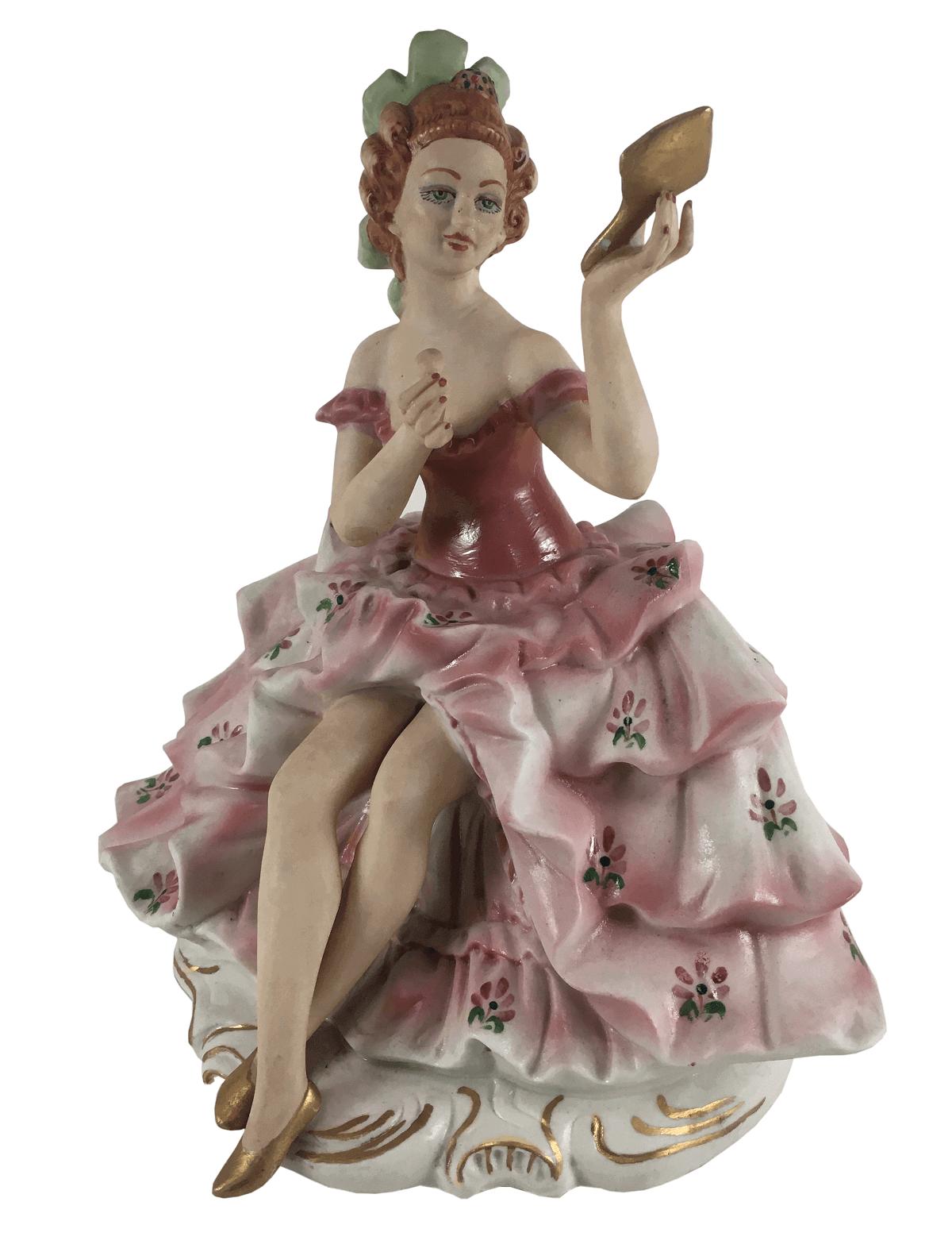 Grande Escultura Antiga Porcelana Dama Se Maquiando