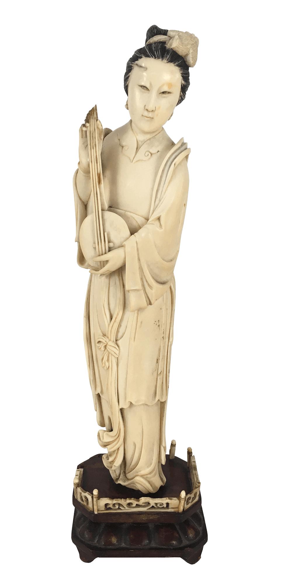 Grande Escultura Marfim Gueixa 32cm