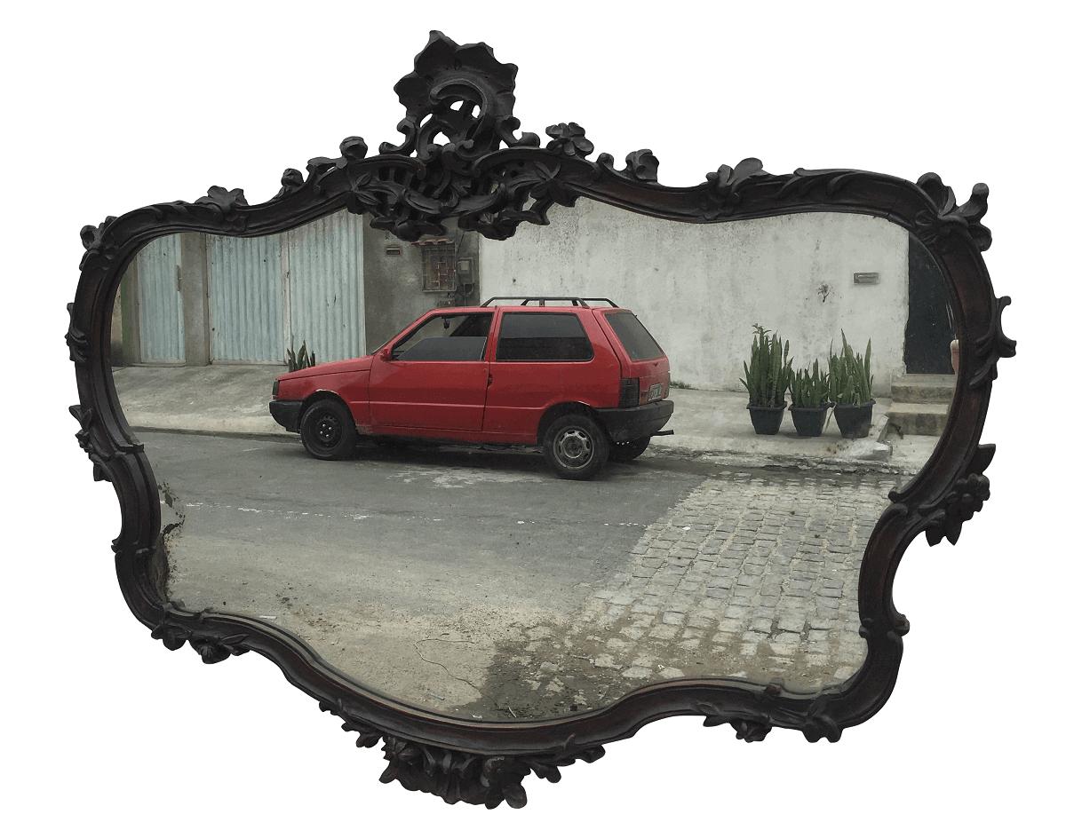 Grande Espelho Antigo Luis Xv Madeira Entalhada