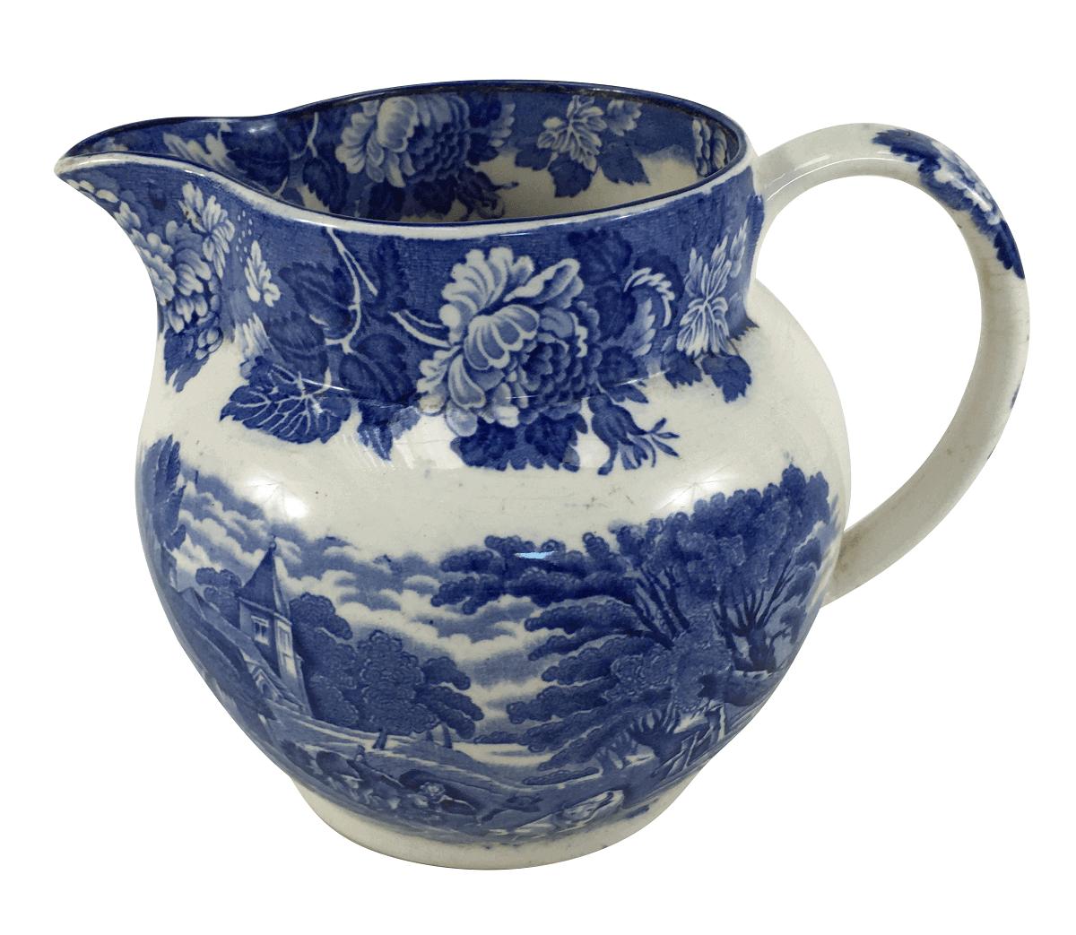Grande Leiteira Antiga Porcelana Inglesa Fazendinha Azul