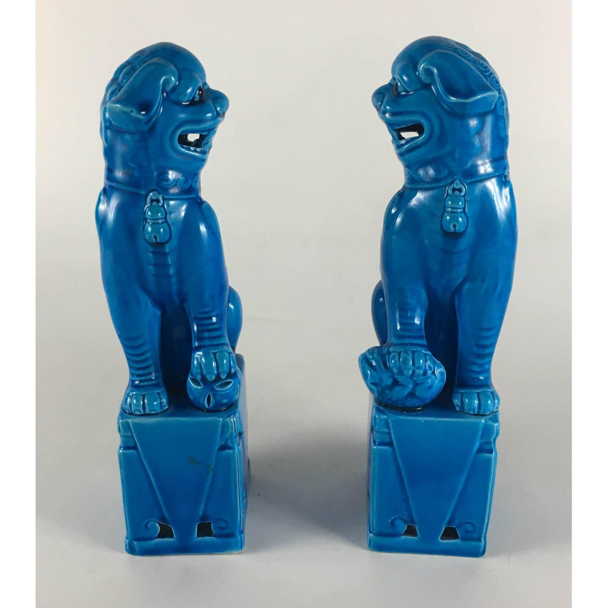 Grande Par De Cao De Fo Porcelana Antiga