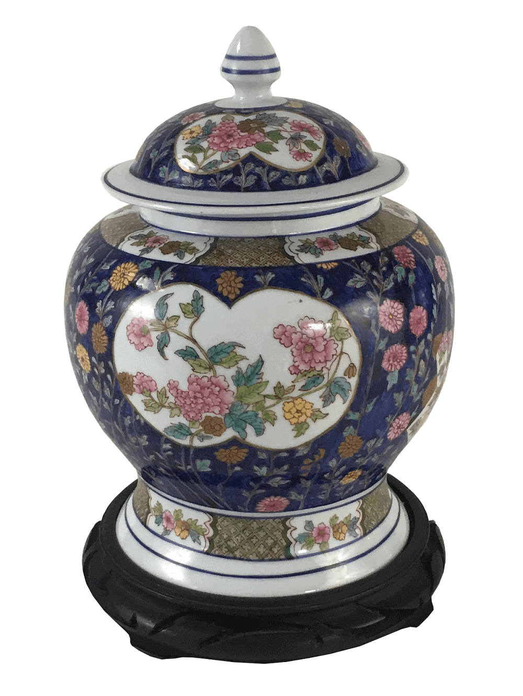 Grande Potiche Porcelana Flores Com Peanha Madeira