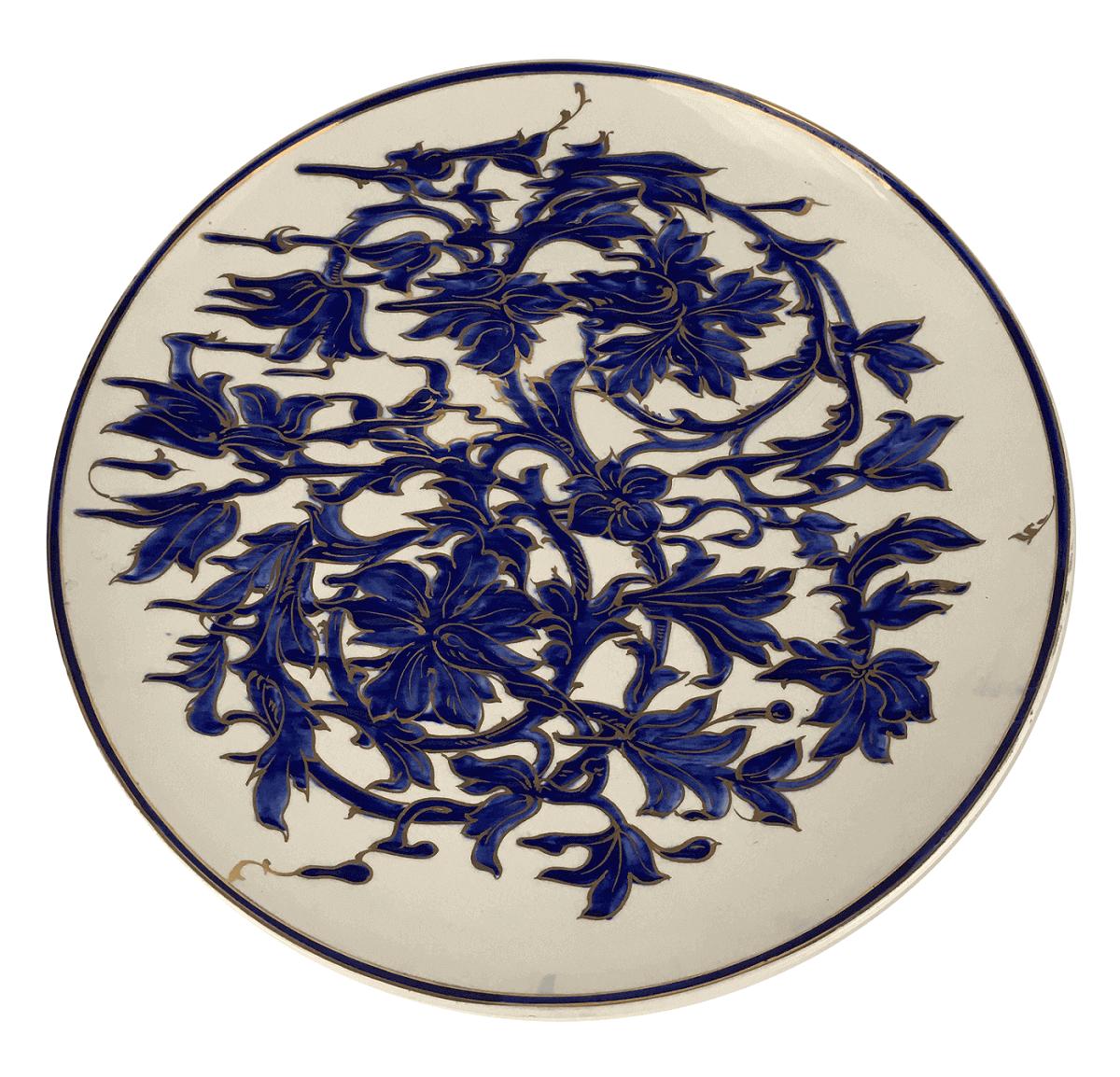 Grande Prato Antigo Fruteira Ceramica Flores Azuis