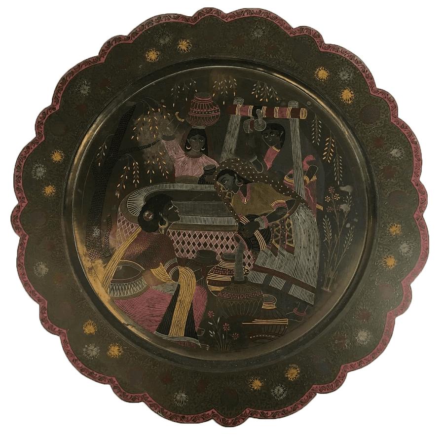 Grande Prato Antigo Indiano Metal Decorativo 60cm