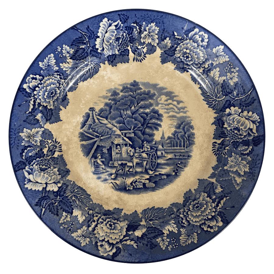 Grande Prato Antigo Porcelana Inglesa Fazendinha 28cm