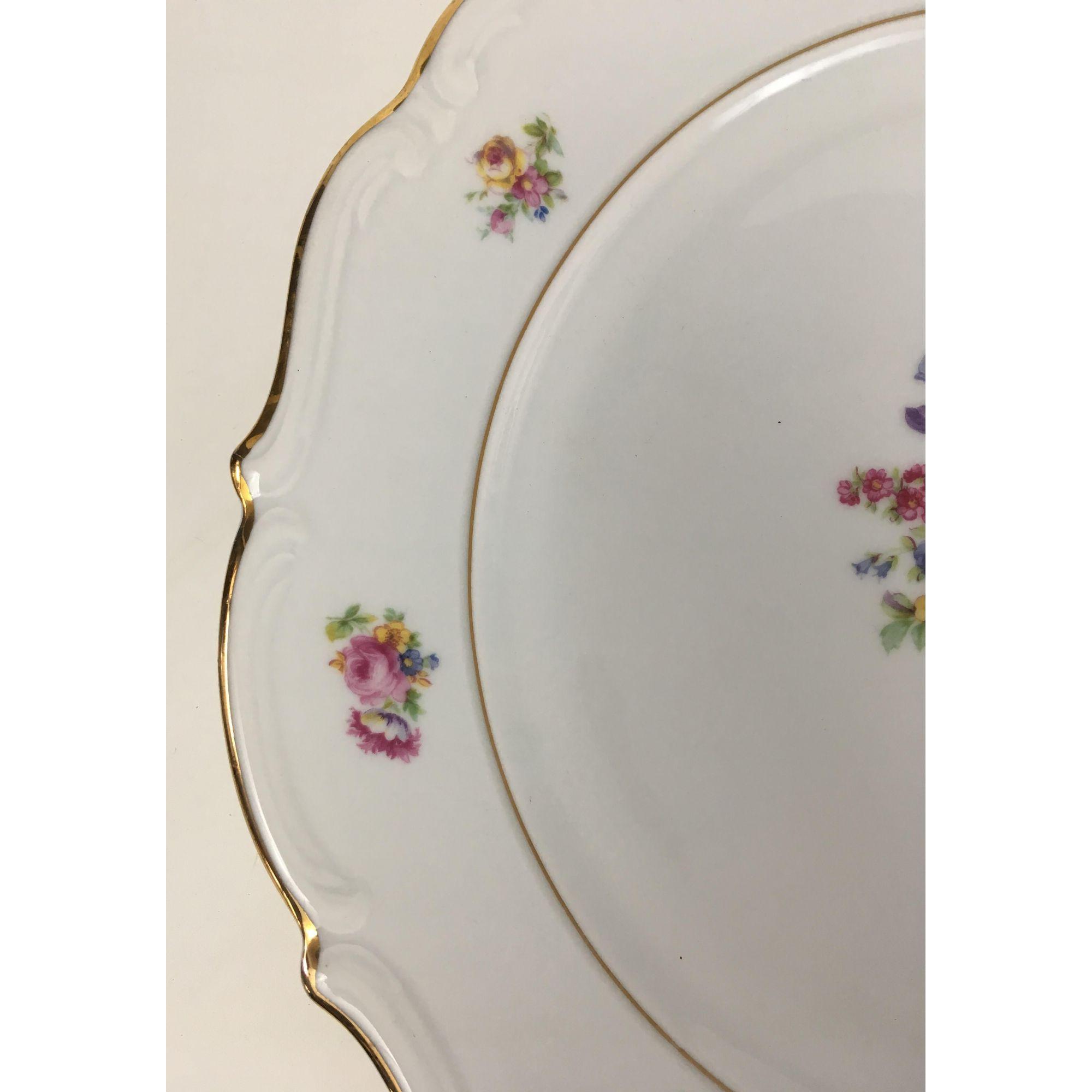 Grande Prato Bolo Porcelana Antiga Polonesa Ct 33cm