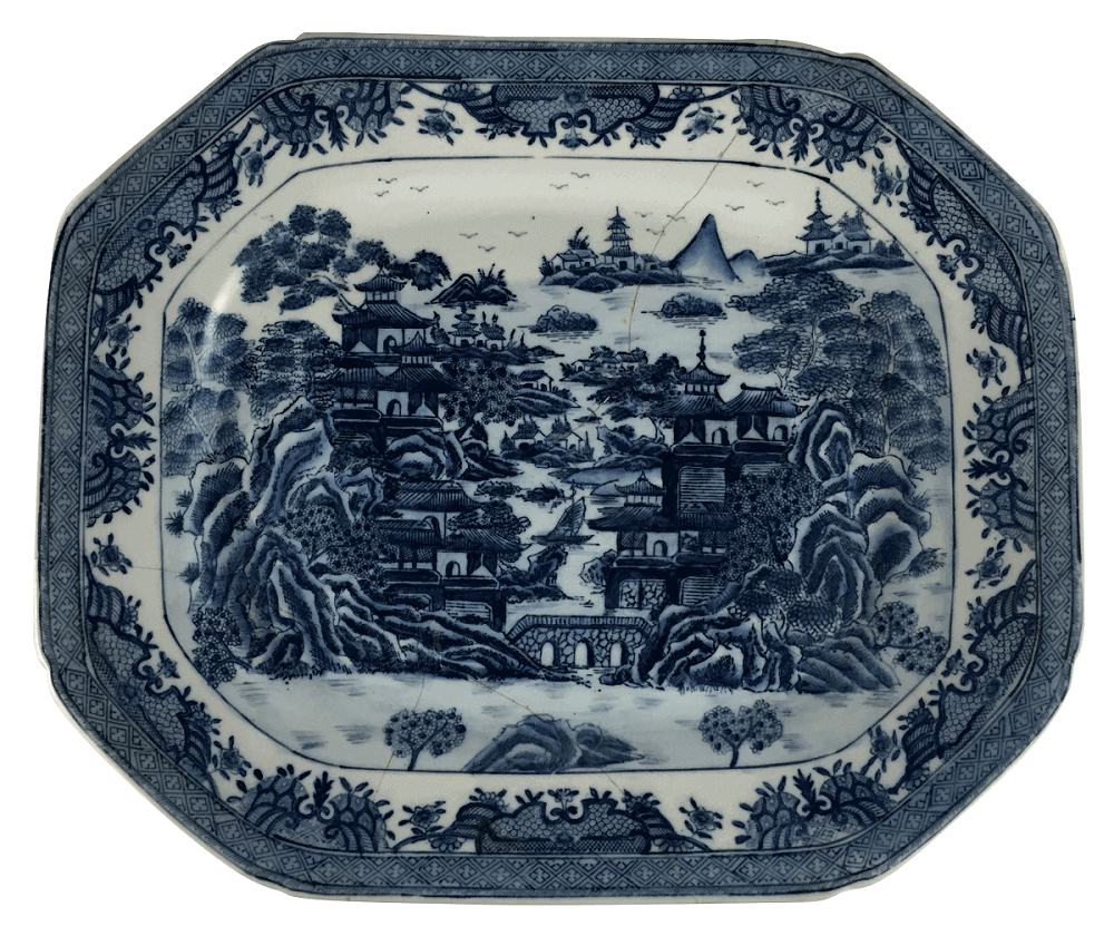 Grande Travessa Antiga Porcelana Macau Azul E Branco