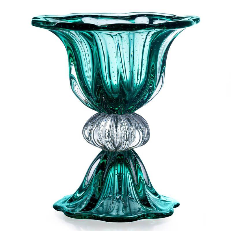 Grande vaso cristal murano sao marcos molinari verde esmeralda imp rio dos antigos - Vasos grandes cristal ...