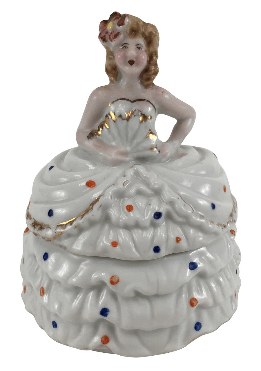 Linda Caixa Porta Joias Em Porcelana Dama