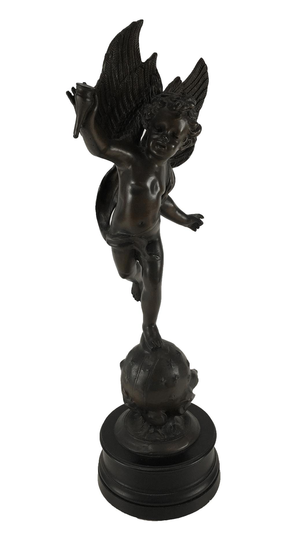 Linda Escultura Anjo Resina Imitando Bronze 51cm