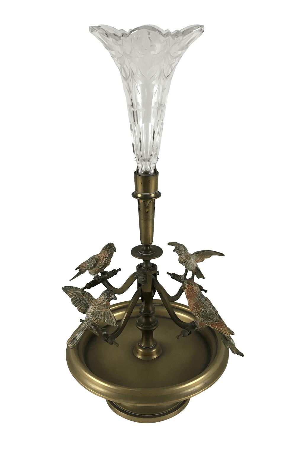 Linda Escultura Antiga Decorativa Em Bronze E Cristal