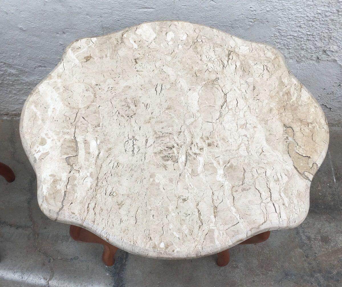 Linda Mesa Lateral Oval Madeira Macia Tampo Marmore