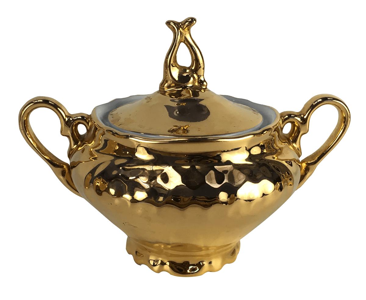 Lindo Açucareiro Antigo Em Porcelana Schmidt Ouro
