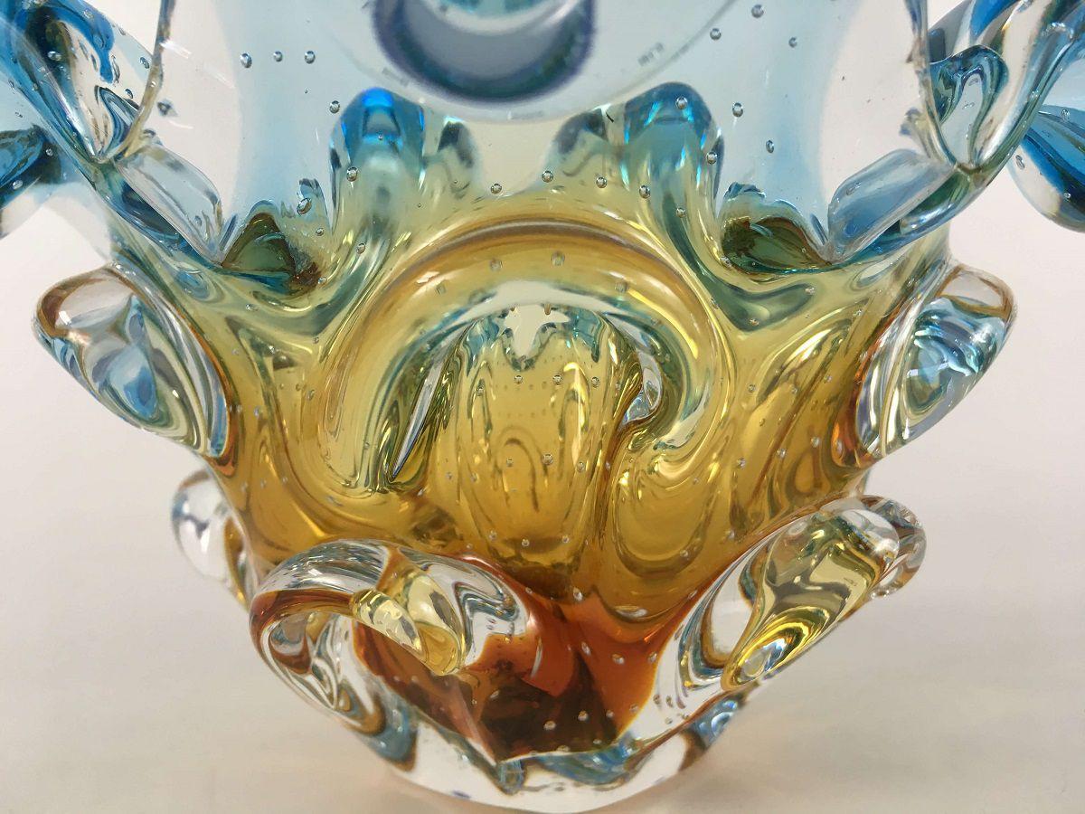 Lindo Centro De Mesa Sao Marcos Em Cristal Murano  Azul E Ambar Com Bolhas
