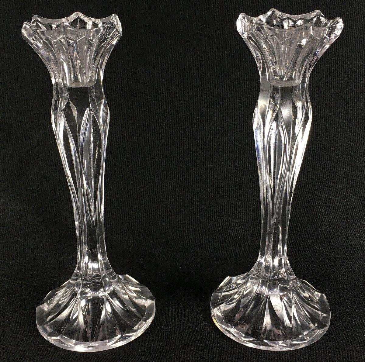 Lindo Par De Castiçal Em Cristal 22cm Altura