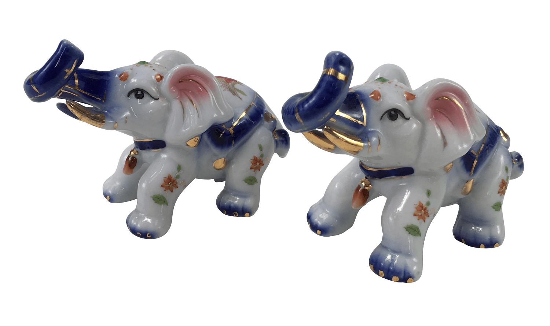 Lindo Par De Elefante Miniatura Em Porcelana Policromada