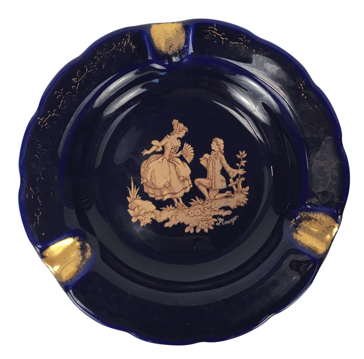 Lindo Pratinho Cinzeiro Azul Com Ouro Porcelana Limoges