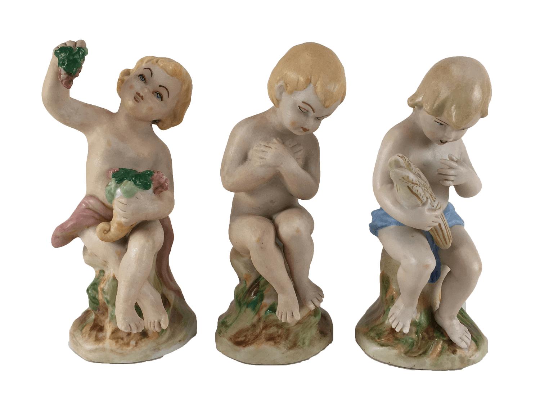 Lindo Trio De Crianças Em Porcelana Biscuit 15cm Altura