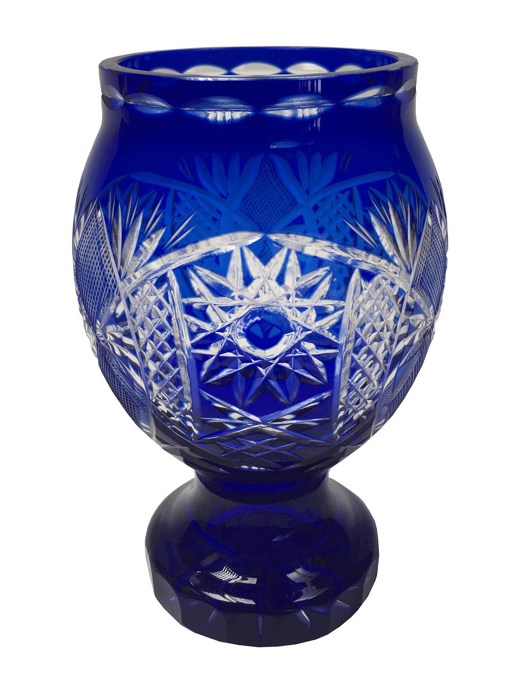 Lindo Vaso Antigo Cristal Tcheco Azul Bohemia Lapidado