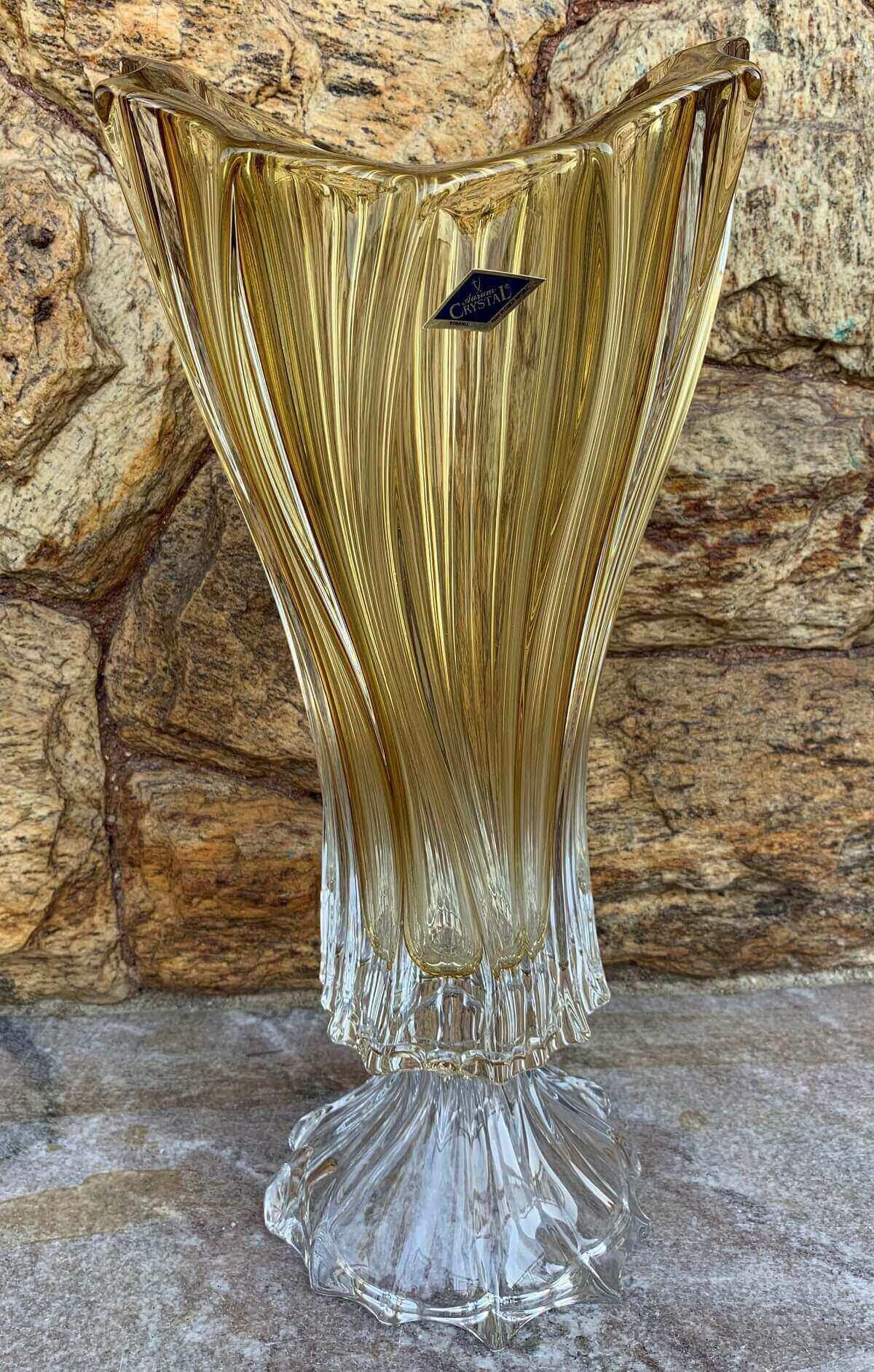 Lindo Vaso Cristal Bohemia Ambar Com Pe