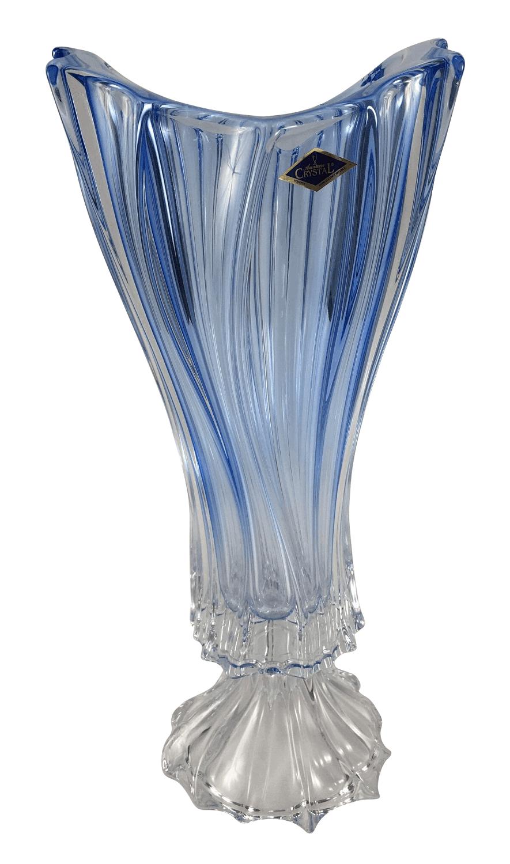 Lindo Vaso Cristal Bohemia Azul Com Pe