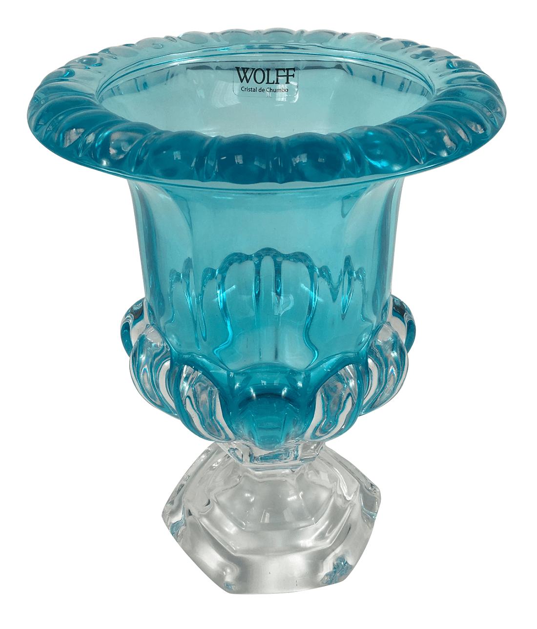 Lindo Vaso De Cristal Azul Turquesa 26cm