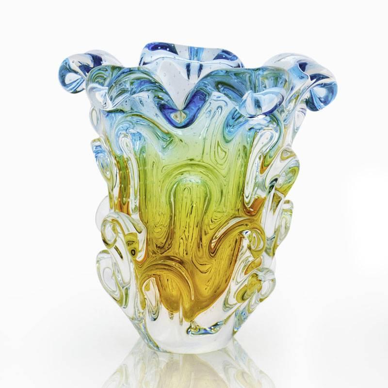 Lindo Vaso Em Cristal Murano Sao Marcos Azul E Ambar Com Bolhas