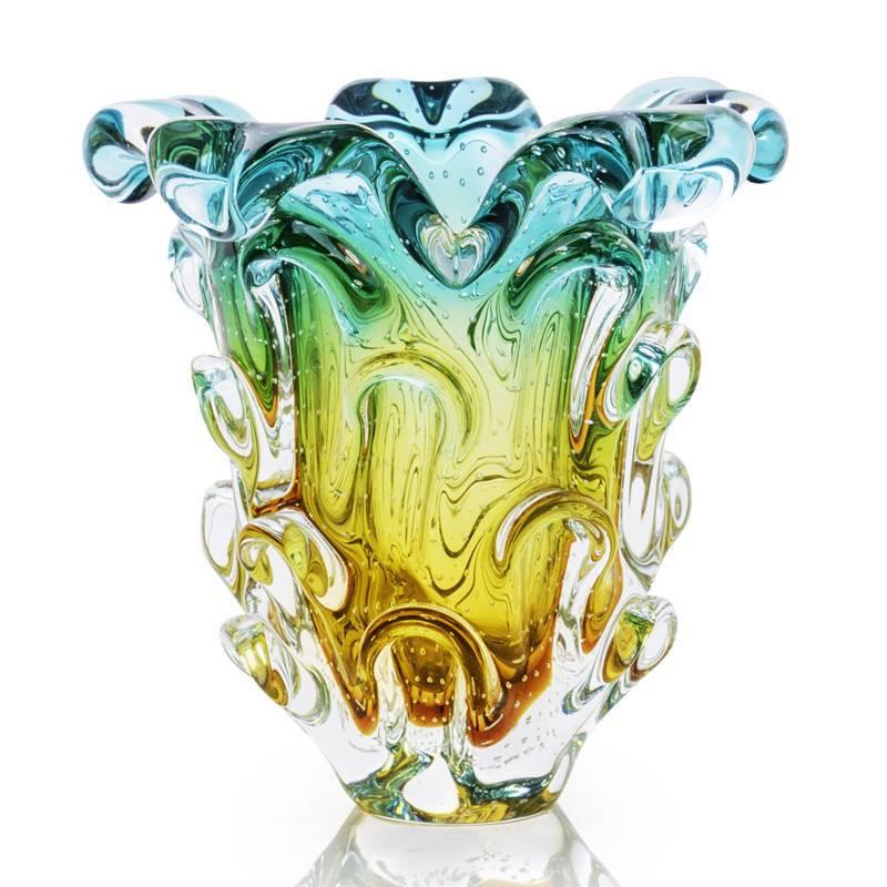 Lindo Vaso Em Cristal Murano Sao Marcos Verde E Ambar