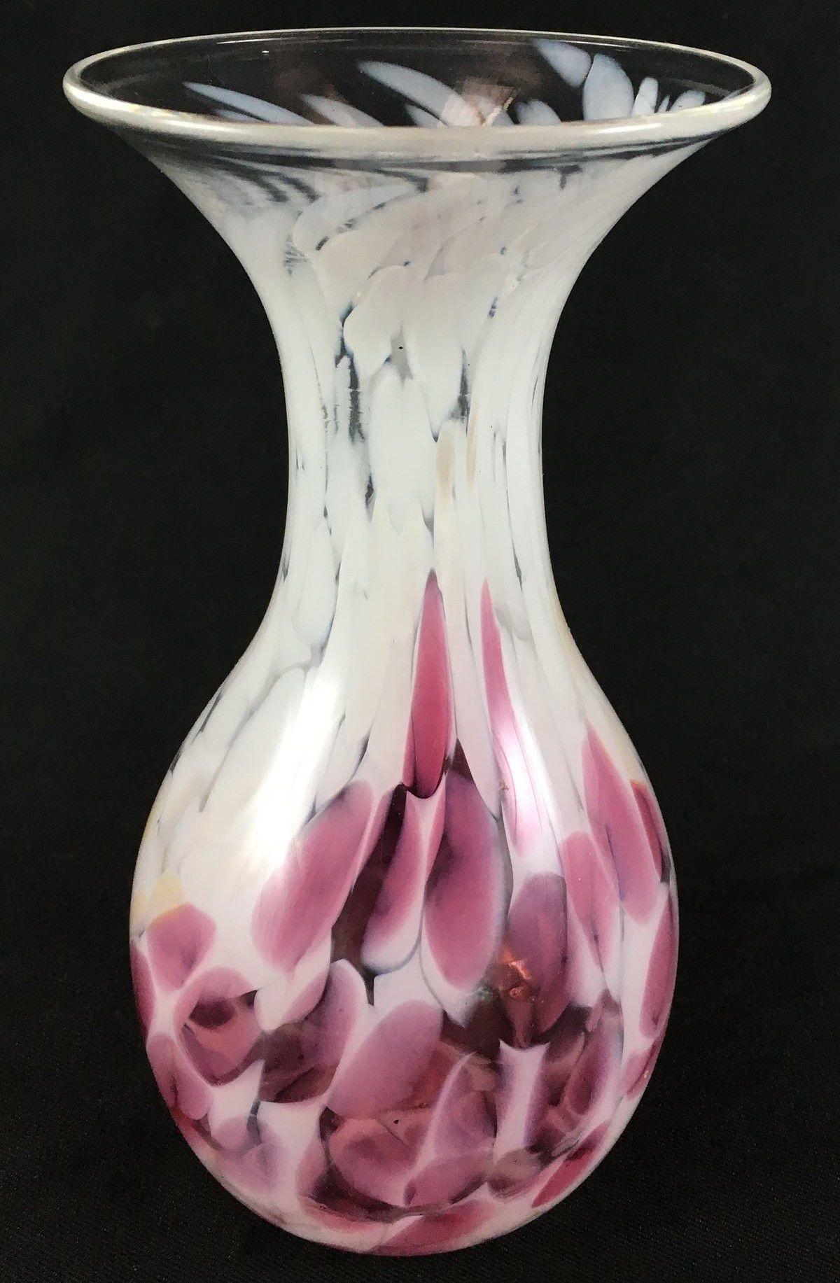 Lindo Vaso Vidro Rosa E Branco