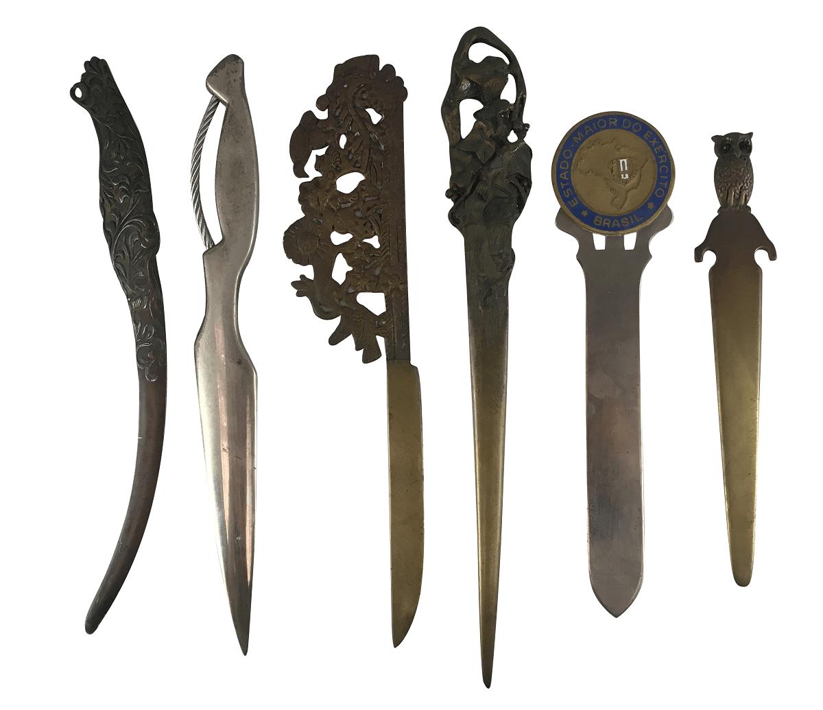 Lote De Abridor De Carta Antigo Bronze Metal