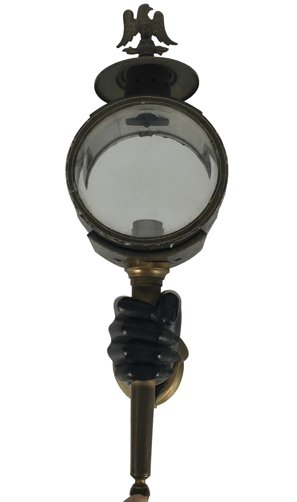 Magnifica Arandela Luminaria De Parede Antiga BlackAmoor Madeira E Metal