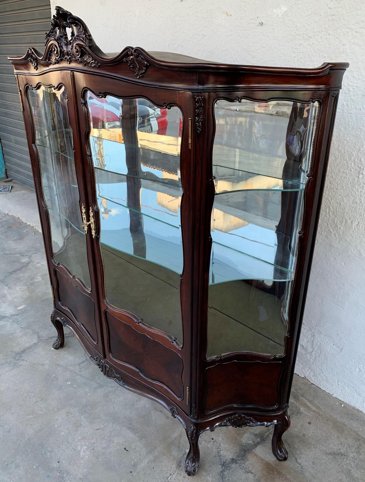 Magnifica Cristaleira Antiga Dom Jose Jacaranda Vidros Bombe