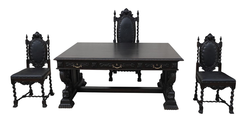 Magnifica Escrivaninha Antiga Renascença Colonial Tres Cadeiras